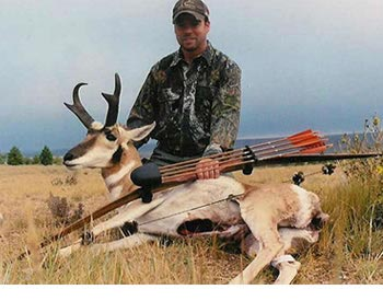 A mature pronghorn buck harvested with a longbow.