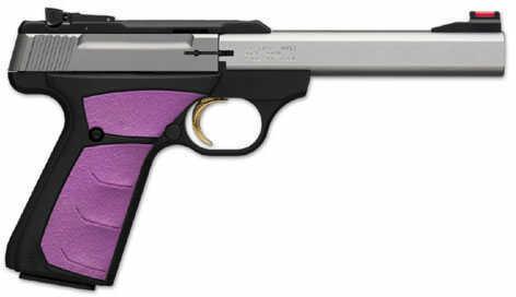 "Browning Buck Mark Plus Semi-Auto Pistol 5.50"" Barrel Stainless Steel 22 Long Rifle Fuchsia Insert Grip 051506490"