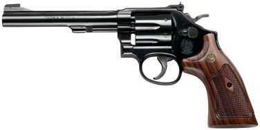 "Smith & Wesson Revolver 48  22 Magnum  6""Barrel  6 Round  Blue  Wood Grip  150718"