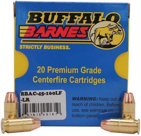 Buffalo Bore Ammunition Buffalo Barnes Low Recoil 45ACP 160 Grain Barnes TAC-XP (Per 20) 45-160LF-LR