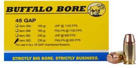 Buffalo Bore Ammunition 45 GAP 230 Gr FMJ-FN (Per 20) 38D/20