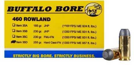 Buffalo Bore Ammunition 460 Rowland 255 Gr Hard Cast FN (Per 20) 35D/20