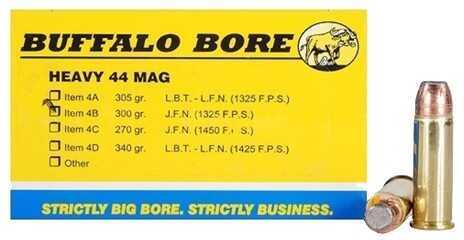 Buffalo Bore Ammunition Heavy 44 Magnum JFN 300 Grains (Per 50) 4B/50