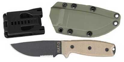 Ontario Knife Company Rat 1095 3 - Serrated, Green Sheath 8633