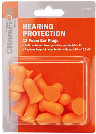 Champion Traps & Targets Molded Foam Plugs Earplugs Orange Disposable 6 Pair 40958