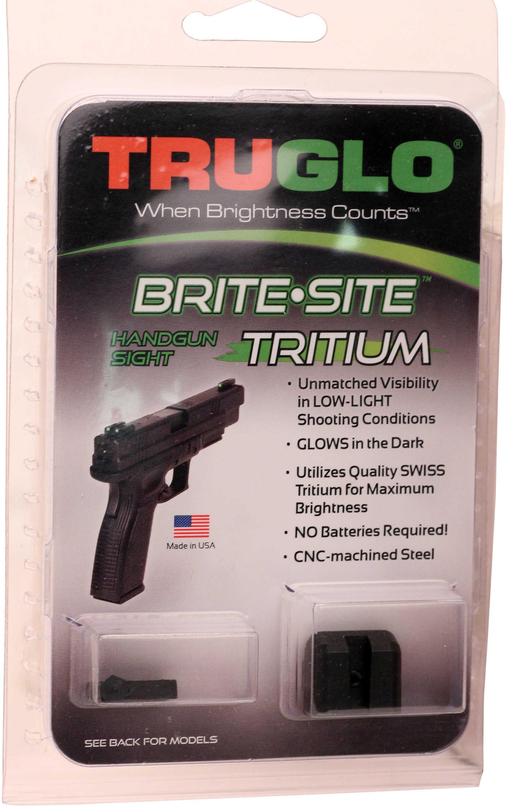 Truglo Brite-Site Tritium Sight Fits Low Glock 17 17L 19 22 23 24 26 27 33 34 35 38 39 Green TG231G1