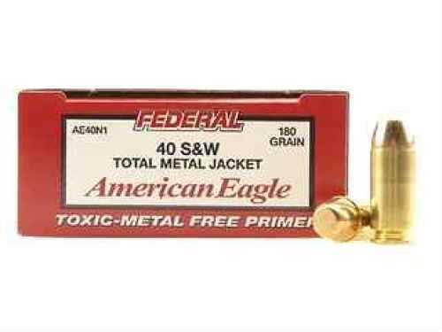 Federal Cartridge 40 Smith & Wesson 40 S&W, 180gr, Total Metal Jacket, (Per 50) AE40N1