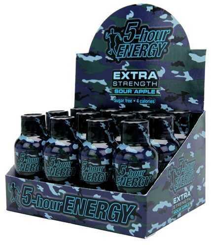 5-Hour Energy Drink, Extra Strength, Per 12 Sour Apple, Camo 738126