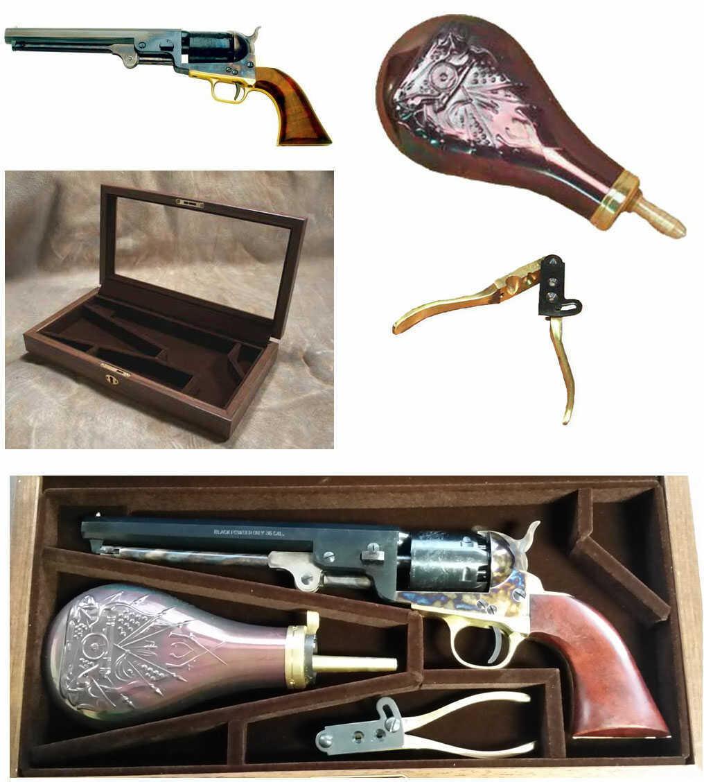 "Pietta Case Set 1851 Navy Steel .36 Caliber Revolver 7-1/2"" Octagonal Barrel with Powder Flask, Bullet Mold"
