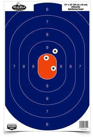 "Birchwood Casey Dirty Bird 12"" x 18"" Blue/Orange Silhouette Per 50 Md: 35720"