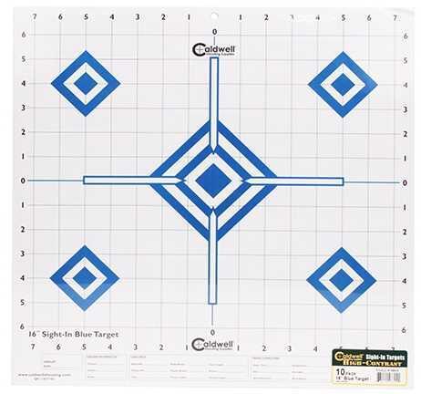 "Caldwell Sight-In Target 16"" Hi-Contrast Blue (Per 10) 198604"