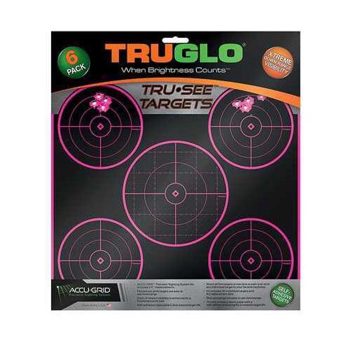 Truglo Target 5-Bulls Eye 12x12 Pink 6 Pack Md: TG11P6