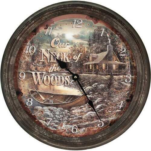 "Rivers Edge Products Metal Clock, 15"" Cabin Scene Md: 1036"