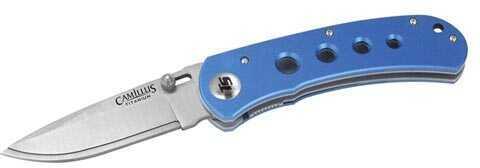 Camillus Cutlery Company TigerSharp Titanium Folder, Blue, 1 Smooth/1 Serrated Blade Md: 18563