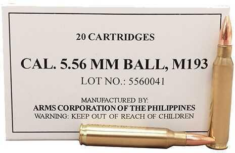 Armscor Precision Inc Armscor M193 Ball 5.56 NATO 55 Grain Full Metal Jacket (Per 20) 50174