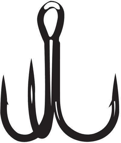 Gamakatsu / Spro Treble S-Shank Round Bend Magic Eye Hook, NS Black Size 6 Md: 298407