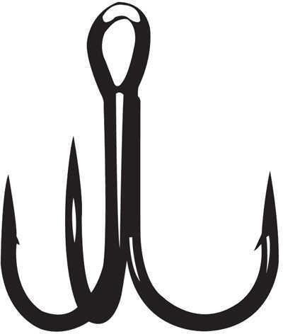 Gamakatsu / Spro Treble S-Shank Round Bend Magic Eye Hook, NS Black Size 2 Md: 298409