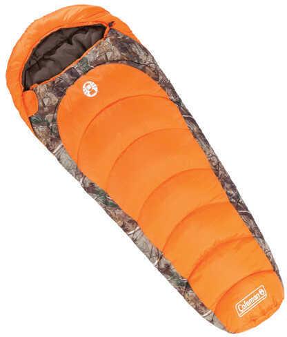 Coleman Sleeping Bag 0 Degrees Mummy, Realtree Xtra Camo/Orange