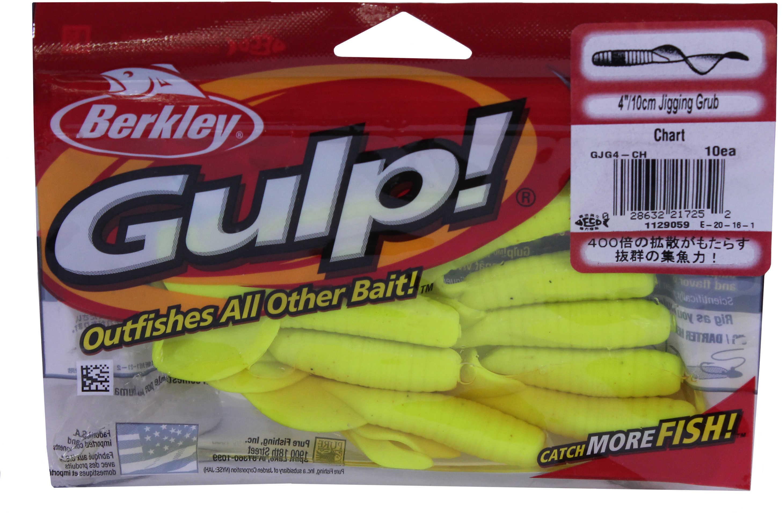 Berkley Gulp! Jigging Grub 4In 10per bag Chartreuse Md: GJG4-CH