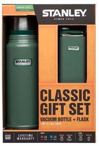 Stanley Classic Vacuum Bottle 1.1 Quart + Flask Gift Set Green Md: 10-01025-001