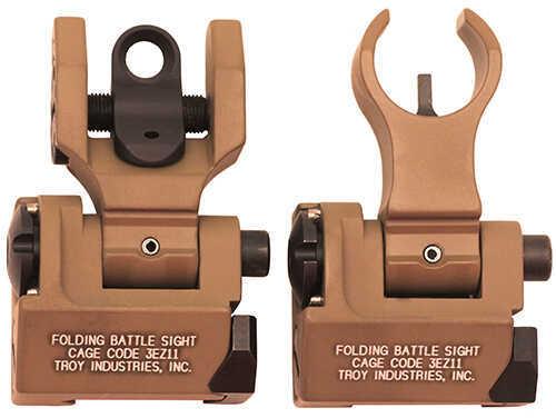 Troy Industries Medium Sight Set, HK Front & Round Rear Flat Dark Earth Md: SSIG-MDS-HRFT-00
