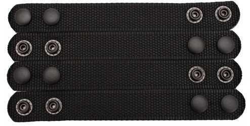 """4 Pack Bianchi 31304 Black Nylon PatrolTek 1/"""" Wide Belt Keepers Black Snaps"""