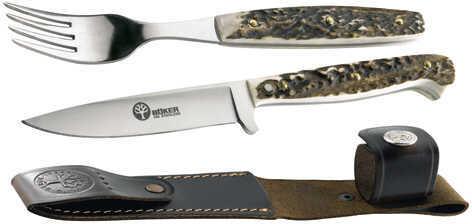 Boker USA Inc. Stag Fork & Knife Set w/Sheath Md: 03BA501HH