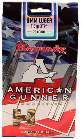 Hornady 9mm Luger 115 Grain XTP, American Gunner Ammunition, 75 Rounds Per Box