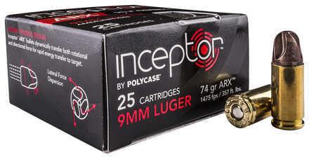 Polycase Ammunition 9mm Luger, 74 Grain ARX Ammuniton, 25 Rounds Per Box