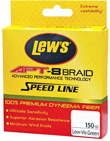 Lew's Lews Fishing APT-8 Braid Speed Line 50 lbs, 150 Yards, Low-Vis Green Md: LAPTB50NGR