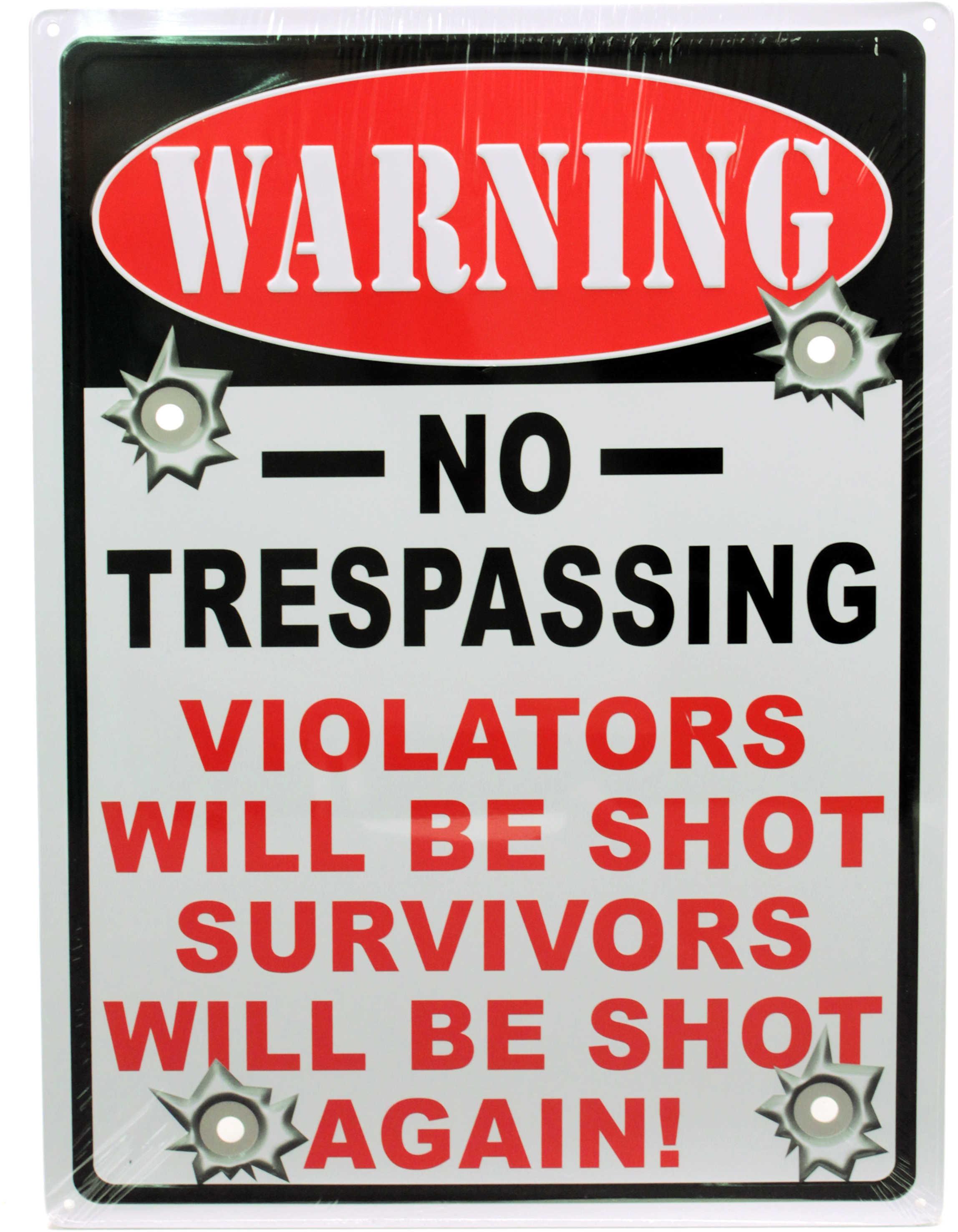 "Rivers Edge Products 12"" x 17"" Tin Sign Warning-No Trespassing 1525"