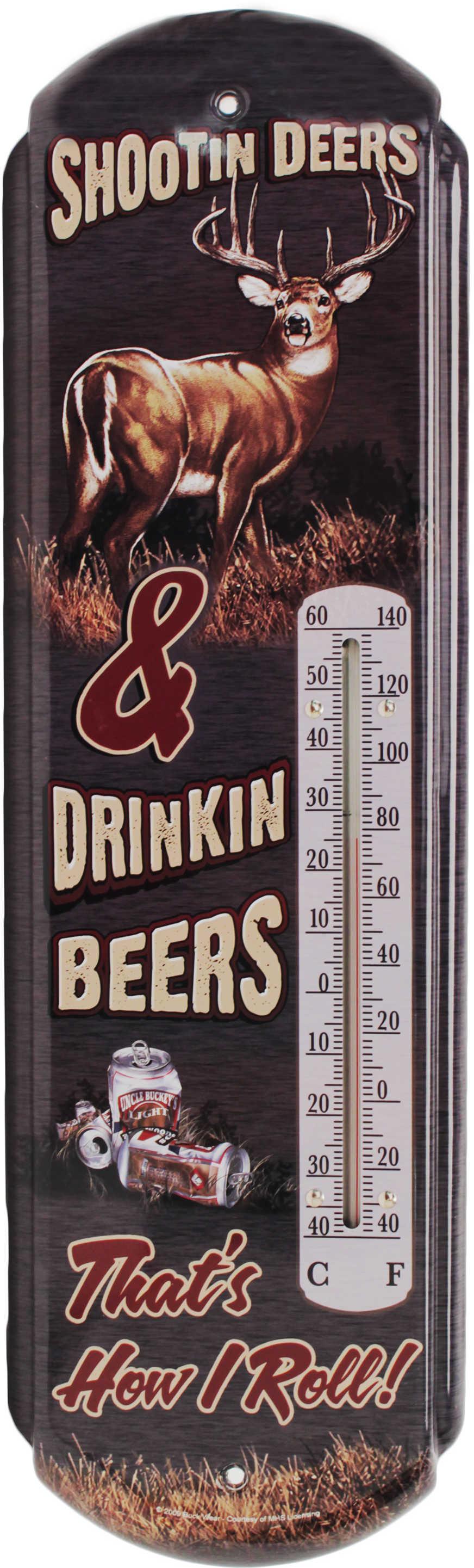 River's Edge ShooTin Deers Thermometer Tin Indoor/Outdoor 17''x5''