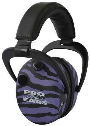 Pro Ears Stalker Gold Noise Reduction Rating 25dB, Purple Zebra Md: GSDSTLPUZ