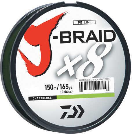 Daiwa J-Braid Braided Line, 10 lbs Tested 165 Yards/150m Filler Spool, Chartreuse Md: JB8U10-150CH