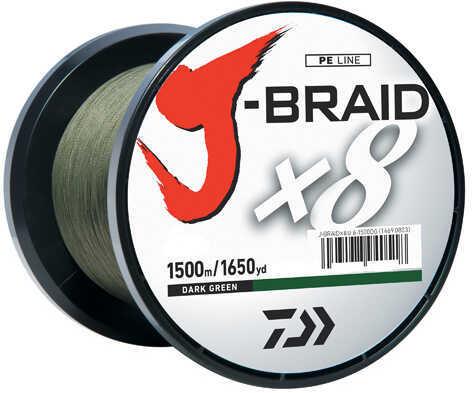 Daiwa J-Braid Braided Line, 15 lbs Tested 1650 Yards/1500m Filler Spool, Dark Green Md: JB8U15-1500DG