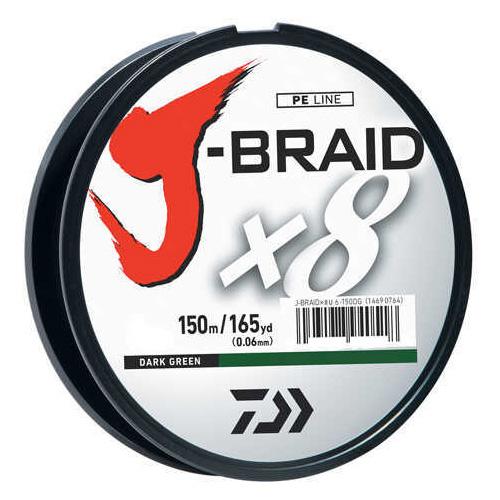 Daiwa J-Braid Braided Line, 15 lbs Tested 165 Yards /150m Filler Spool, Dark Green Md: JB8U15-150DG