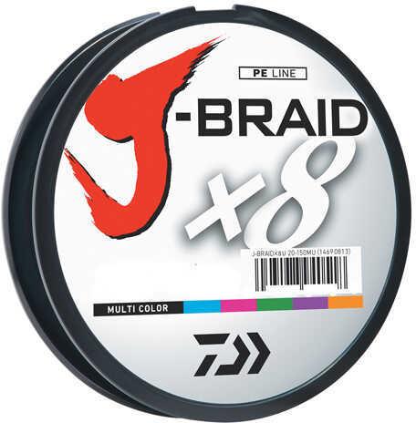 Daiwa J-Braid Braided Line, 20 lbs Tested 330 Yards/300m Filler Spool, Multi Color Md: JB8U20-300MU