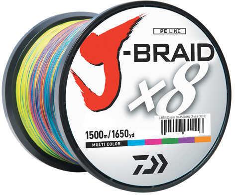 Daiwa J-Braid Braided Line, 50 lbs Tested 1650 Yards/1500m Filler Spool, Multi Color Md: JB8U50-1500MU