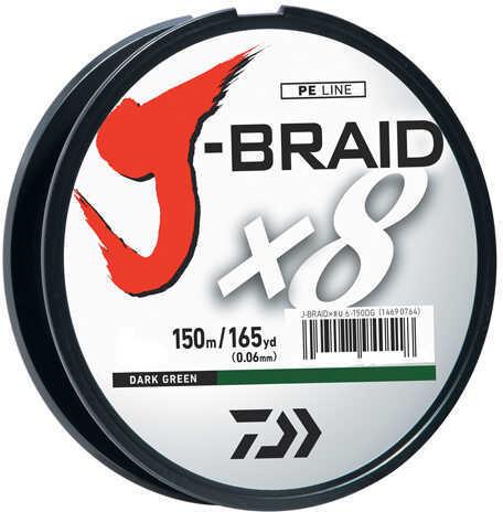 Daiwa J-Braid Braided Line, 8 lbs Tested 165 Yards/150m Filler Spool, Dark Green Md: JB8U8-150DG