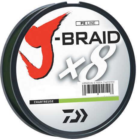 Daiwa J-Braid Braided Line, 8 lbs Tested 330 Yards/300m Filler Spool, Chartreuse Md: JB8U8-300CH