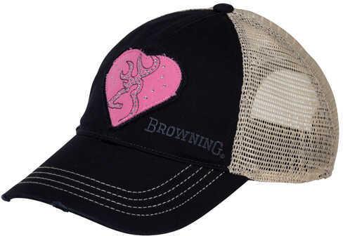 Browning Heartbreaker Cap, Navy/Pink Md: 308193951