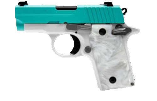 Sig Sauer P238 Pistol 380 ACP Robins Egg Blue Slide  Siglite Night Sights  6 Round Semi-Auto Pistol