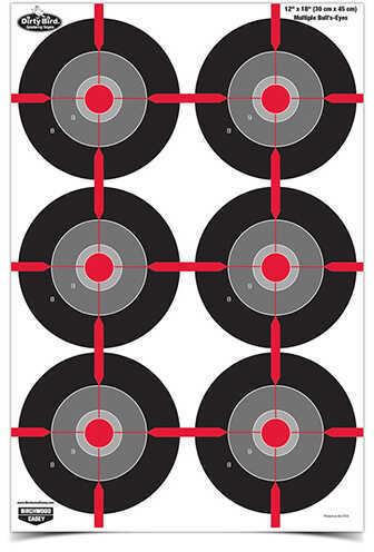 """Birchwood Casey Dirty Bird Paper Targets 12"""" x 18"""", Multiple Bull's-Eye, Pack Of 100 Md: 35703"""