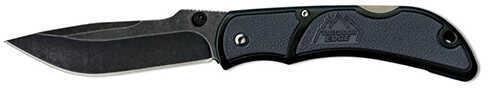 "Outdoor Edge Cutlery Corp Medium Chasm Folding Knife 3.3"" Black Stonewash Plain Blade, Gray Zytel Handle, Boxed Md: CHY-"