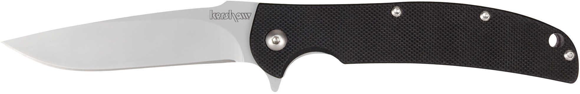 "Kershaw Chill 3.125"" Folding Knife Drop Point Plain Edge 8CR13MOV/Satin Black G10 Flipper/Pocket Clip 3410"