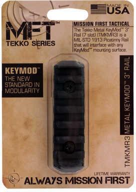 """Mission First Tactical Tekko Metal KeyMod 3"""" Rail, Black Md: TMKMR3"""
