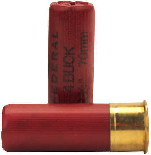 "Federal Cartridge 12 Gauge Shotshells Classic Buckshot 2 3/4"" Max dram 27 Pellets 4 Buck (Per 5) F1274B"