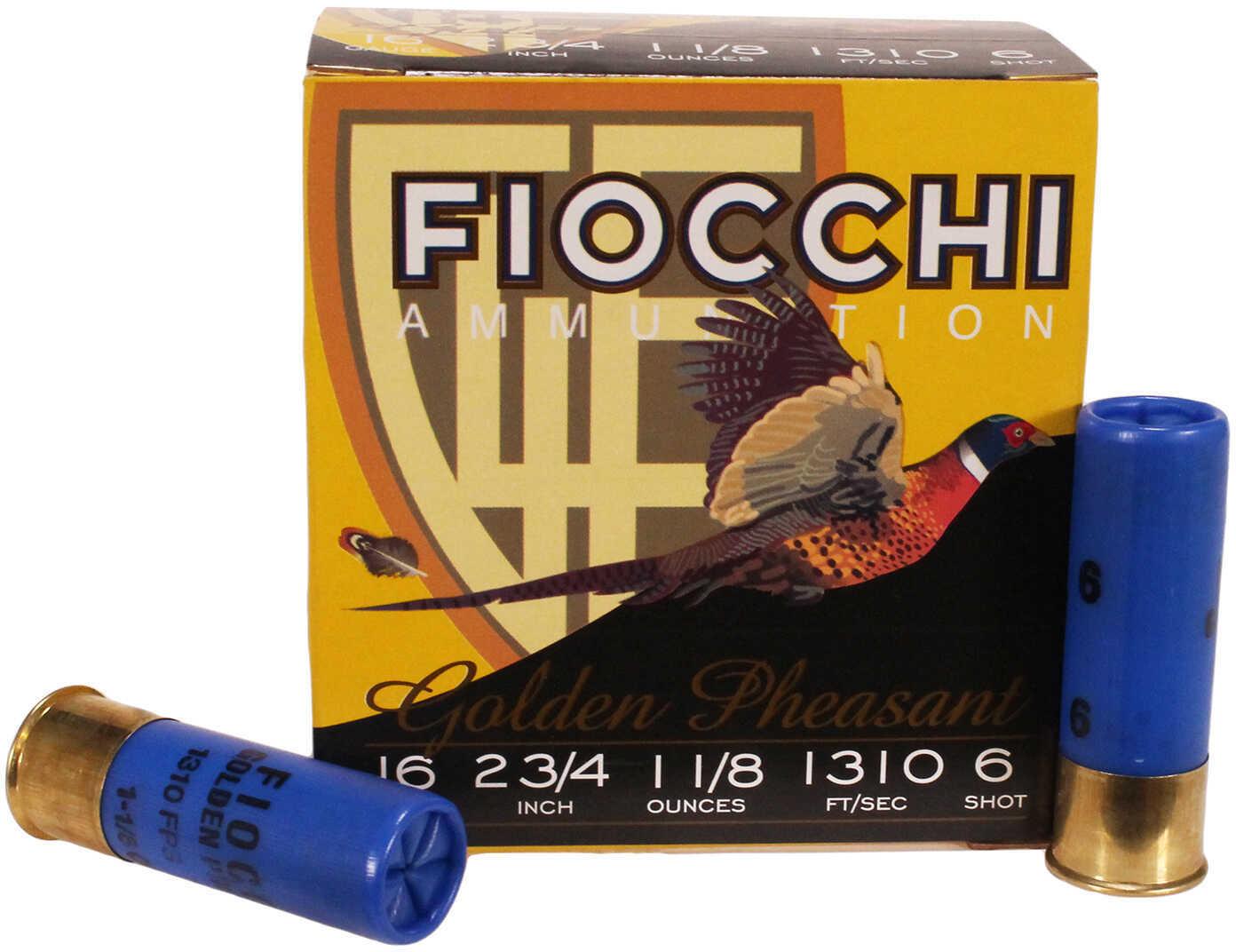 """Fiocchi Ammo Golden Pheasant 16 Gauge 2 3/4"""" 1 1/8Oz #6 25 Rounds Ammunition 16GP6"""