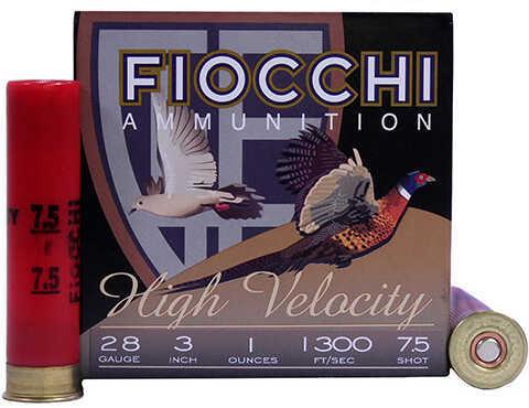 "Fiocchi Ammunition 28 Gauge High Velocity, 3"" Chamber, 7 1/2 Shot, 1 oz, Per 25 Md: 283HV75"