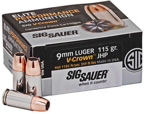 Sig Sauer Elite V-Crown Ammunition 9mm Luger, 115 Grains, Jacketed Hollow Point, Per 50